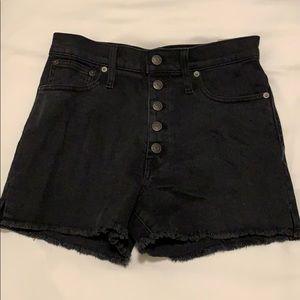 Madewell High Rise denim shorts with frayed bottom